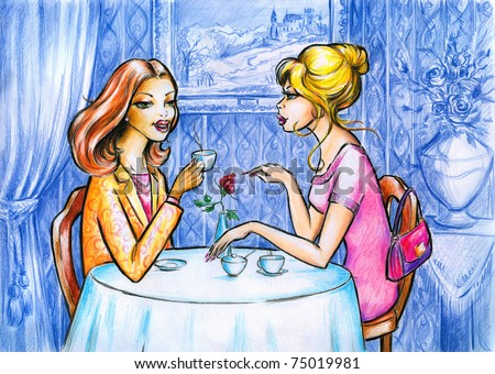 Two women talking and drinking coffee.Picture I have created myself with colored pencils. - stock photo