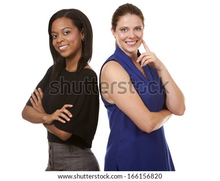 two women wearing office outfits on white isolated background - stock photo