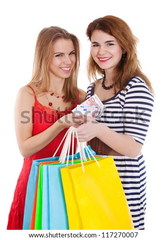 Two women with color packages