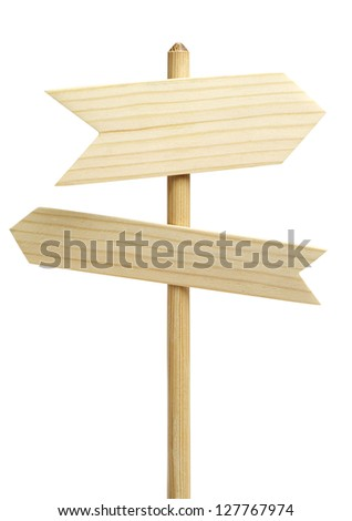 Two wooden arrows sign isolated on white