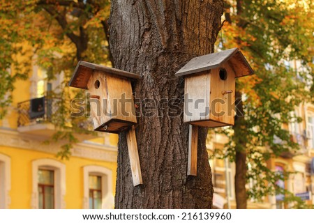 Two wooden birdhouses on the tree in autumn - stock photo