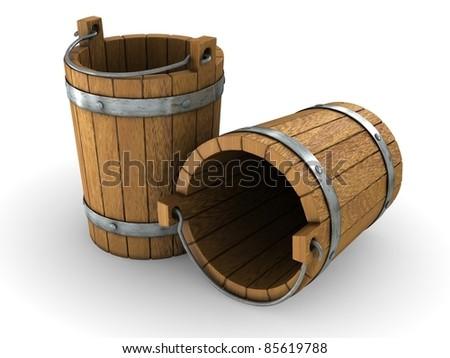 Two wooden bucket - stock photo