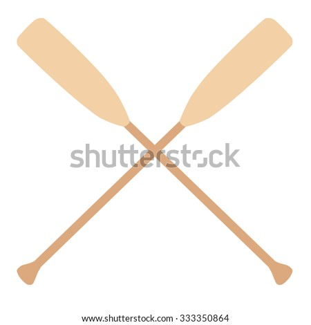 Two wooden crossed oars raster isolated. Rowing oars. Boat oar. Water sport - stock photo