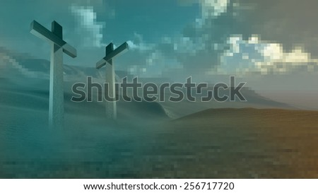 Two wooden crosses made in 3d software - stock photo