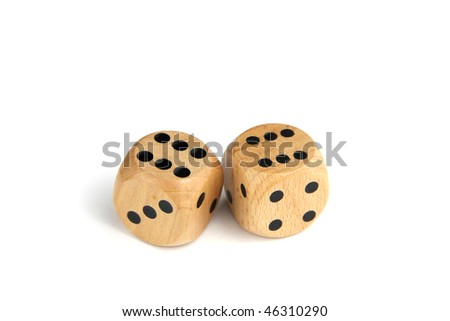 Two wooden dice showing the number twelve on an isolated white background