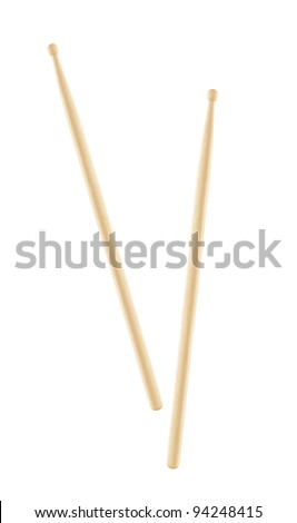 Two wooden drumsticks isolated - stock photo