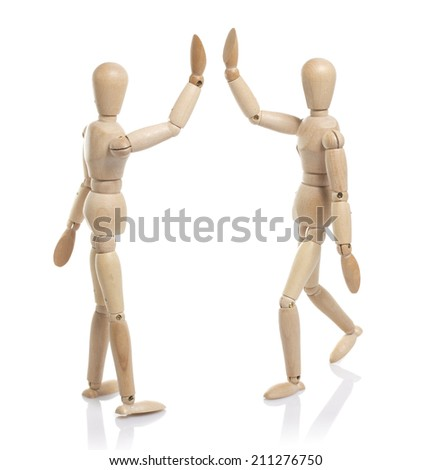 two wooden dummy greet - stock photo
