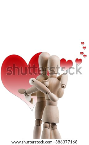 Two wooden figures are hugging, with hearts in the background.