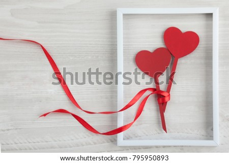 Two Wooden Hearts Frame Ribbon Stock Photo (Royalty Free) 795950893 ...