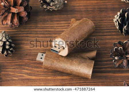 Two wooden usb-stick for photographer with fir cone on dark wooden background. Creative wooden usb stick like a branch on dark wooden background