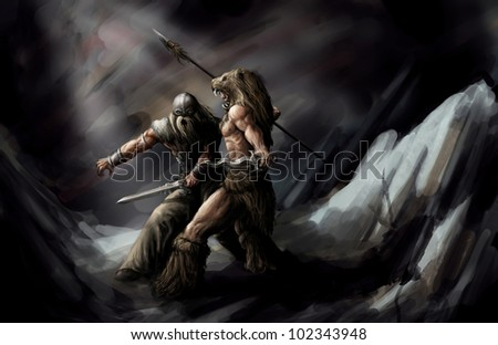 two woriors fighting to the death - stock photo