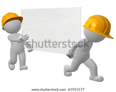 two work men carrying pane of glass - stock photo