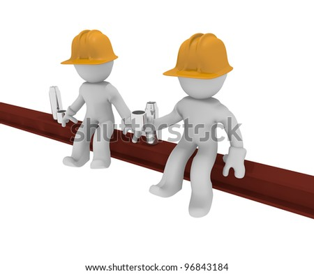 Two worker on a steel beam, Under construction, 3d image