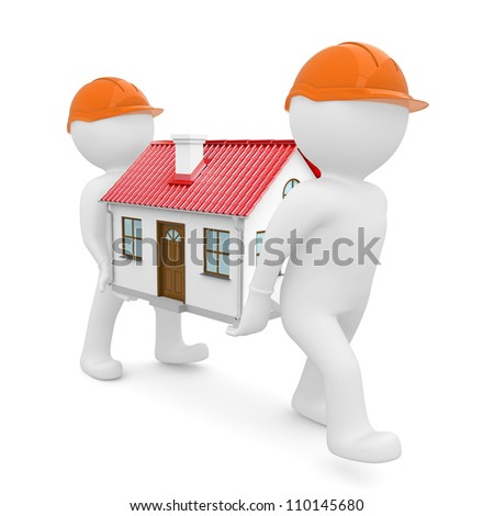 Two workers in orange hard hats have a house with red roof. Isolated on white background - stock photo