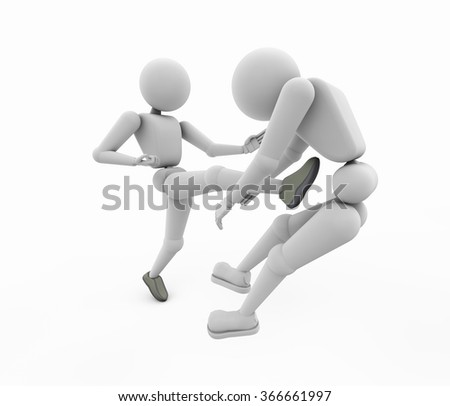 two wrestler in the match the leader struck with a foot another  render 3D illustration cutout isolated on white background soft shadow copy space