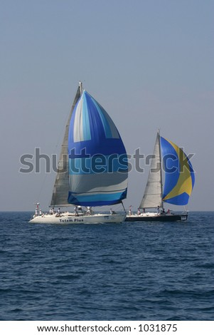 Two yachts - stock photo