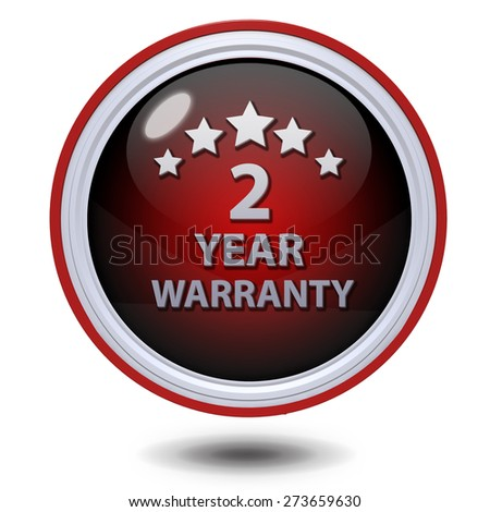 Two year warranty circular icon on white background - stock photo