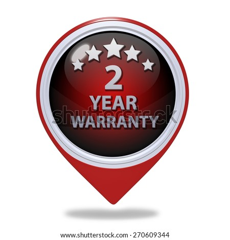 Two year warranty pointer icon on white background - stock photo