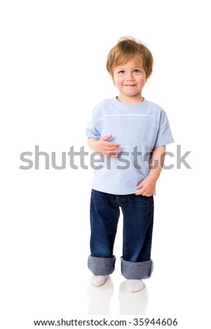 Two years boy standing on floor isolated on white - stock photo