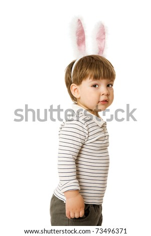 Two years boy wearing bunny ears isolated on white