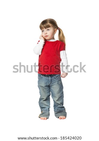 Two years old Girl isolated on white background - stock photo