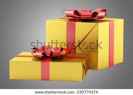 two yellow gift boxes with red ribbons isolated on gray background - stock photo