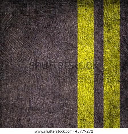 Two yellow lines on asphalt texture - stock photo