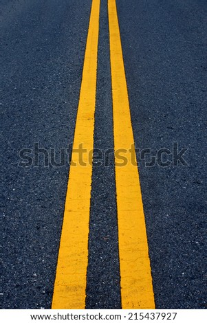 Two yellow traffic lines on the road.
