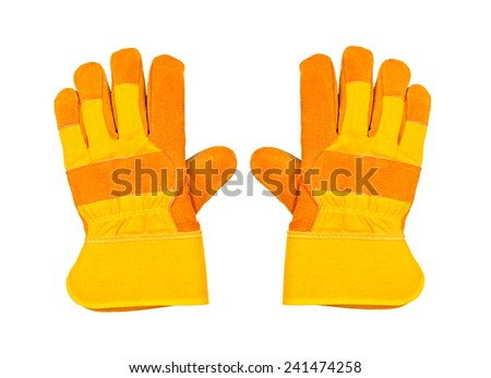 Two yellow work gloves, isolated on white background - stock photo