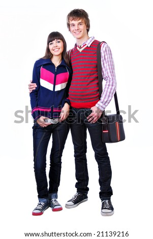 Two young adult students boy and girl standing on white background