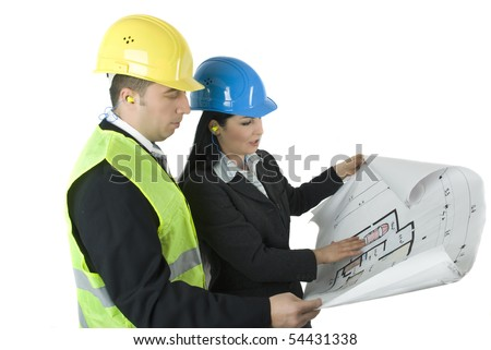 Two young architects looking on plans - stock photo