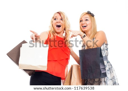 Two young attractive blond ecstatic happy women holding shopping bags and pointing, isolated on white background. - stock photo