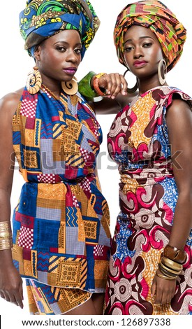 Two young beautiful African fashion models.