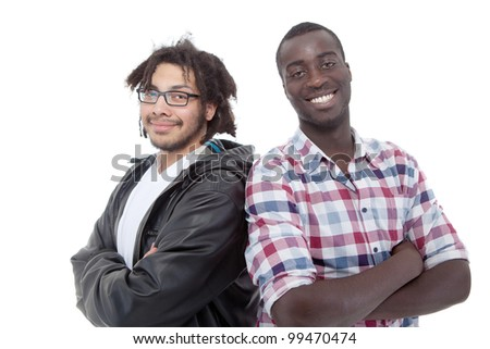 Two young black men over isolated white background. - stock photo
