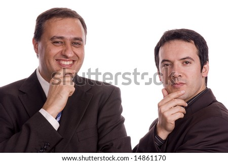 two young business men portrait on white