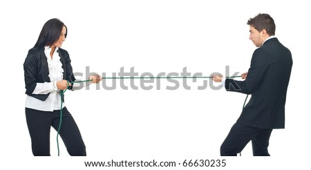Two young business people playing tug war isolated on white background