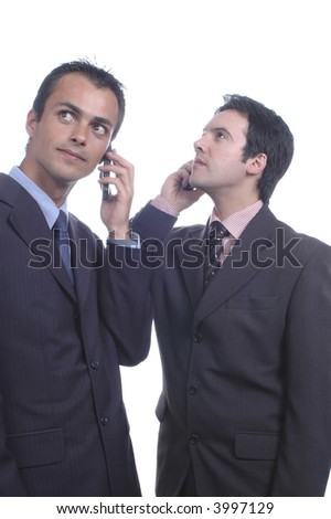 two young businessman they call a mobile phone... - stock photo