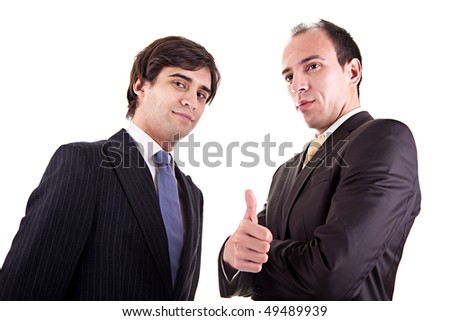 two young businessmen giving consent - stock photo