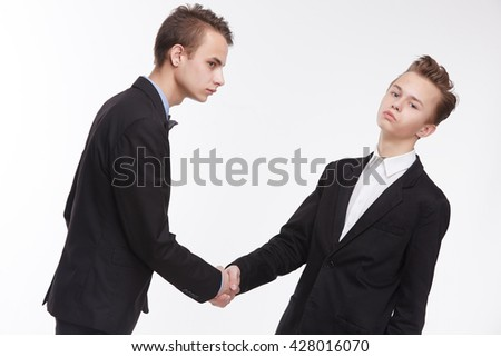 Two young businessmen on meeting