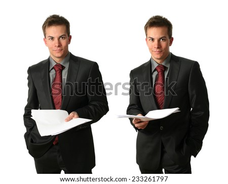 Two young businessmen with documents isolated on white