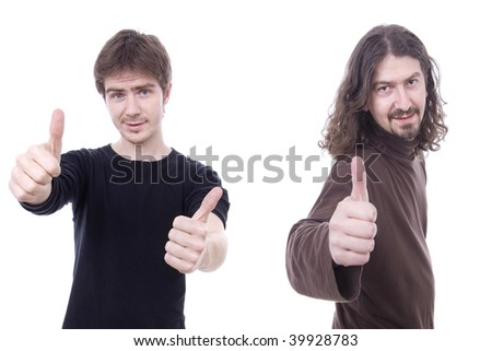 Two young casual man tumbs up, isolated on white - stock photo
