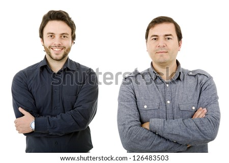 two young casual men portrait, isolated on white
