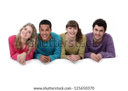 Two young couples - stock photo