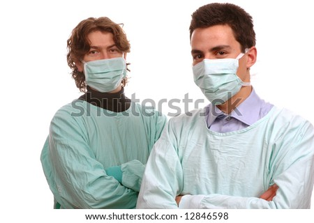 two young doctor portrait over white