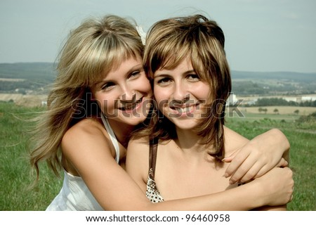 two young happy women