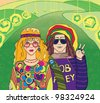 Two Young Hippies. Raster illustration. - stock photo