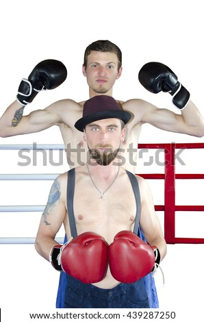 Two young man boxers isolated on white background. Boxer in hat - stock photo