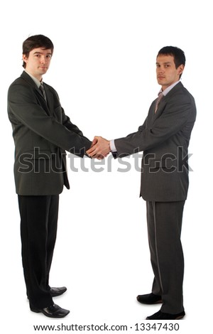 Two young man handshake both hands