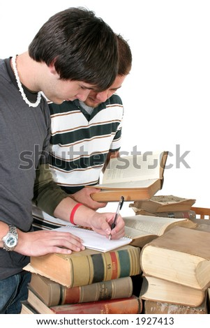 Two young men studying at a table