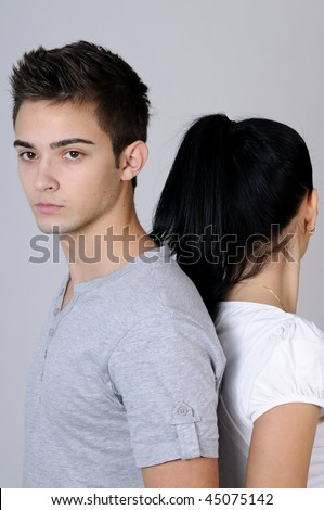 two young people - stock photo